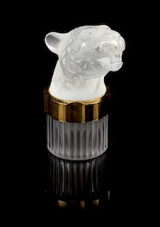 A Lalique Flacon Panthere Perfume Bottle Height 5 1/2 inches.
