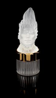 A Lalique Flacon Phoenix Mascot Perfume Bottle Height 6 3/4 inches.