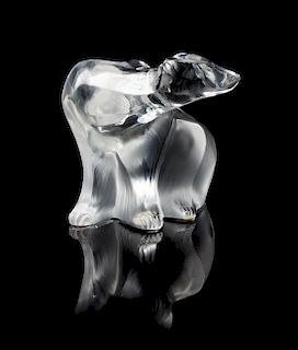 A Lalique Molded and Frosted Glass Figure Width 8 inches.