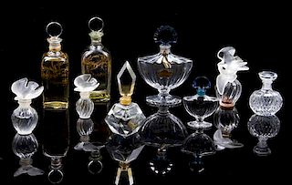 A Collection of Ten Perfume Bottles Height of tallest 6 1/2 inches.
