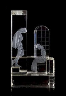 * A Kosta Cut and Etched Glass Sculpture of Romeo and Juliet Height 20 x width 11 x depth 5 inches.