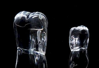 Two Baccarat Glass Elephants Height of larger 5 inches.