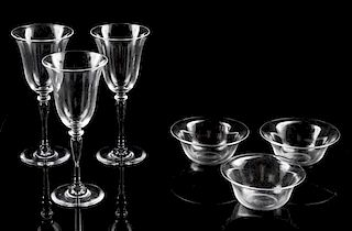 * Two Sets of Steuben Glass Articles Height of goblets 8 inches.