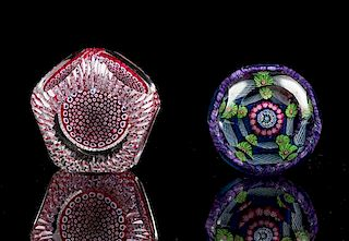 * A Group of Millefiori Glass Paperweights Diameter of largest 3 inches.