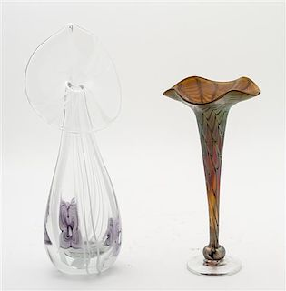 A Zephyr Studio Glass Vase Height of first 9 3/4 inches.