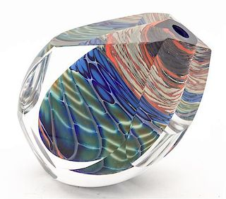 A Studio Glass Vase Height 5 inches.