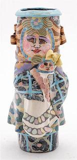 A Studio Ceramic Vase, Jane Peiser Height 12 inches.