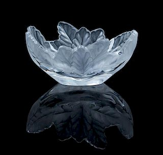 A Lalique Molded and Frosted Glass Bowl Height 3 3/4 x width 7 1/2 inches.