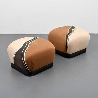 "Pair of Karl Springer ""Souffle"" Ottomans"