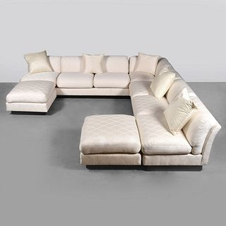 Large Edward Wormley Sectional Sofa & Ottomans
