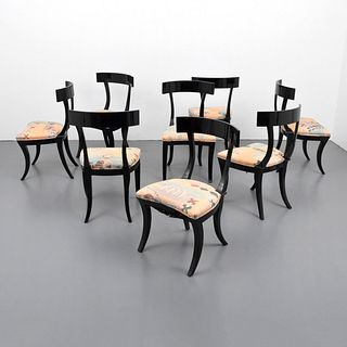 Set of 8 Klismos Dining Chairs Attributed to Tommi Parzinger