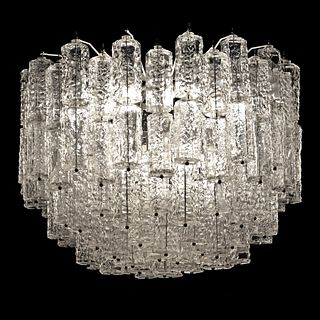 Large Tiered Chandelier Attributed to Venini, Murano