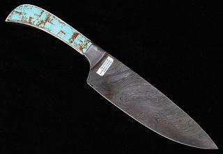 Navajo Wilson Dawes No. 8 Turquoise Damascus Knife