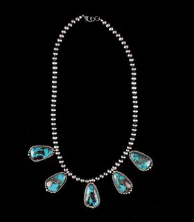 Navajo Sterling & Tibetan Turquoise Necklace