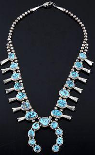 Navajo Kingman Turquoise Sterling Squash Blossom