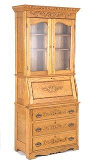 Early Antique Oak Secretary Drop Front Book Shelf