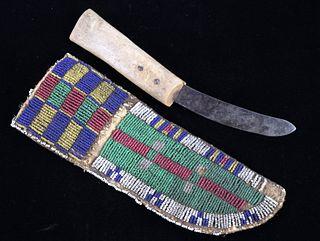 Northern Cheyenne Beaded Sheath & Knife c. 1850-76
