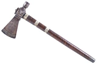 Engraved Silver Inlaid Pipe Tomahawk c. 1770-1810