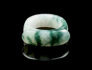 * A Small Jadeite Archer's Ring Diameter overall 1 inch.