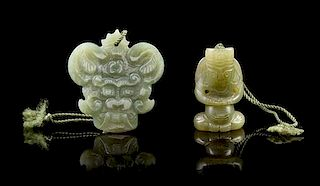 * Two Carved Jade Pendants Height of taller 2 1/8 inches.