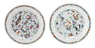 Two Chinese Export Reticulated Dishes Diameter 9 7/8 inches.