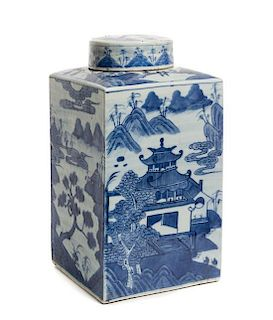 A Chinese Export Blue and White Porcelain Vase Height 13 3/8 inches.