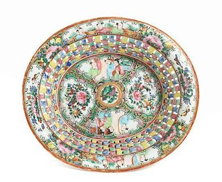 A Chinese Export Rose Medallion Porcelain Basket Width of tray 9 3/4 inches.