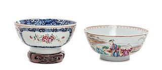 Two Chinese Export Famille Rose Porcelain Bowls Diameter of larger 7 1/8 inches.
