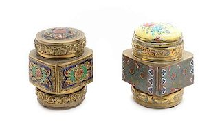 Two Chinese Brass Boxes and Covers Height of taller 3 5/8 inches.