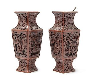 A Pair of Cinnabar Lacquer Vases Height of pair 7 5/8 inches.