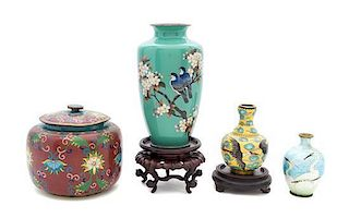 Four Cloisonne Enamel Vases Height of tallest 7 1/2 inches.
