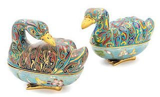 Two Cloisonne Enamel Jars and Covers Length of longer 9 inches.