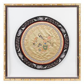 An Embroidered Silk Roundel Diameter 18 1/4 inches.