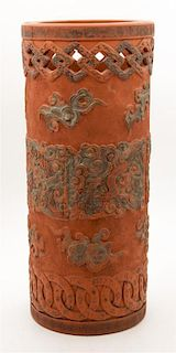 A Chinese Ceramic Umbrella Stand Height 24 inches.