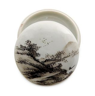 * A Polychrome Porcelain Seal Paste Box and Cover Diameter 2 5/8 inches.