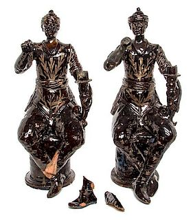 A Pair of Chinese Glazed Terra Cotta Figures Height 23 1/2 inches.
