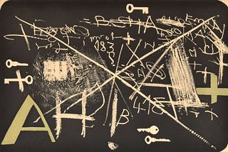 """Antoni Tapies """"Esperit Catalia II"""" Etching, Signed Edition"""