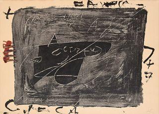 "Antoni Tapies ""Esgrafiats Sobre Negre"" Etching, Signed Edition"