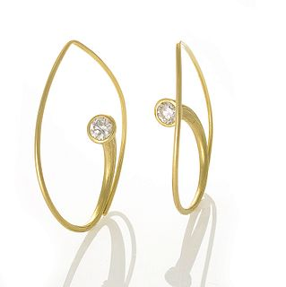 Inverted Vortex Earrings in Yellow Gold with Diamonds