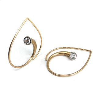 Inverted Vortex Earrings in Rose Gold with Diamonds