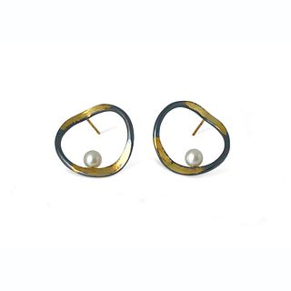 V hoops with a splash of gold on sterling silver