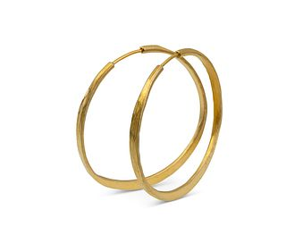 Splash Hoops with Barrel Closure in sterling silver and 14K yellow gold (large)