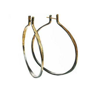 Splash Hoop Earrings in Gold & Silver (medium) tab top