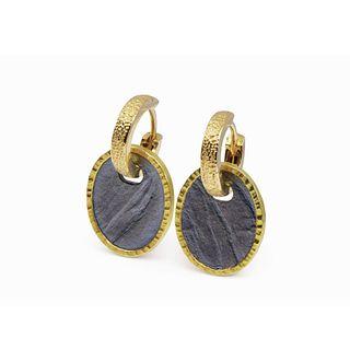 Gold huggie (hoop) with 2-tone pendant