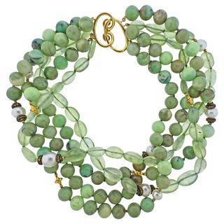 Verdura Multi Gem Set Pearl Gold Torsade Necklace