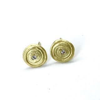 Spiral Earring Studs in Gold with Diamonds