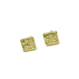 Nugget earrings in 18K gold and diamonds