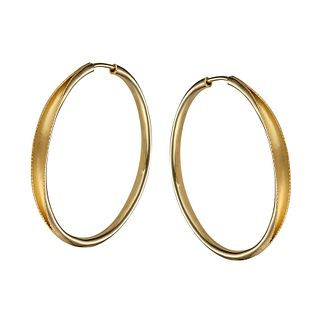 Hollow hand forged hoop earring in 18K yellow gold