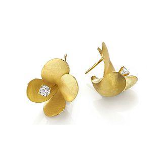 Freesia earrings in 18K gold with diamonds
