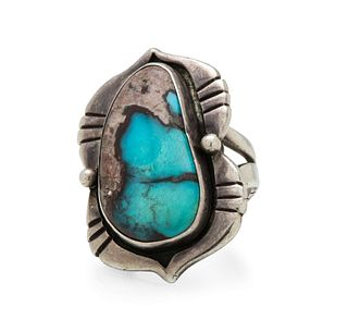 Preston Monongye (Hopi, 1927-1987) Silver and Turquoise Ring Lot is located and will ship from Denver, Colorado